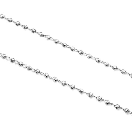 Enge Halskette TOUS Chain aus Weißgold, 45cm lang mit ovalen Gliedern und Kugeln.