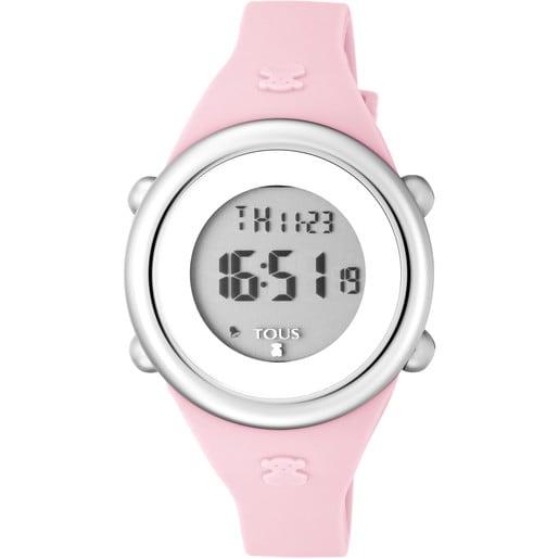 Reloj Soft Digital de acero con correa de silicona rosa