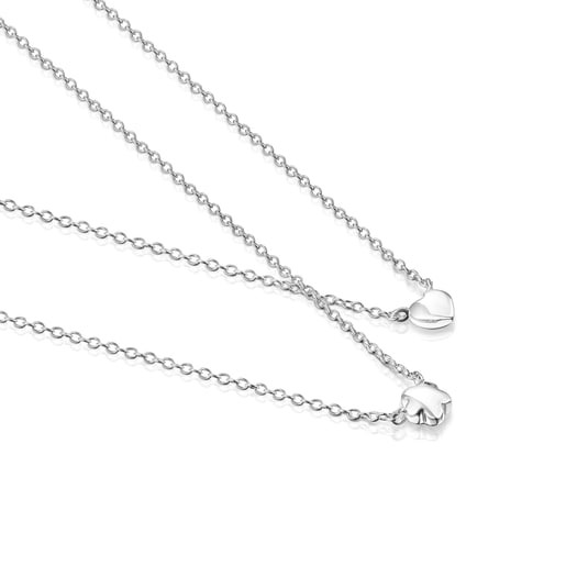 Silver Mini Icons flower-heart Necklaces set
