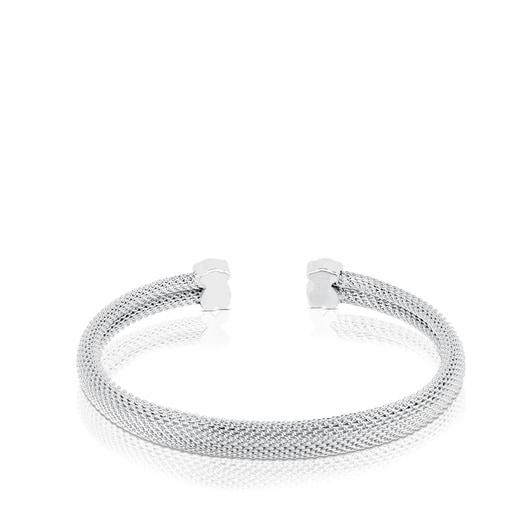 Bracelet manchette Mesh en Argent