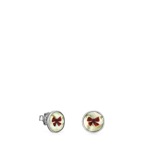 Ohrringe La XIII aus Altsilber mit Perlmutt