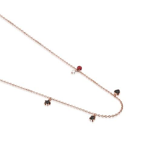 Collar Motif de Plata Vermeil rosa con Espinelas, Rubí y Perla