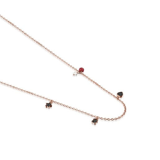 Motif Necklace in Rose Silver Vermeil with Spinels, Ruby and Pearl