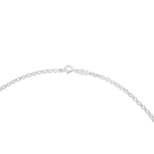Mittellange Halskette TOUS Chain aus Silber mit Kugeln, 50cm lang.