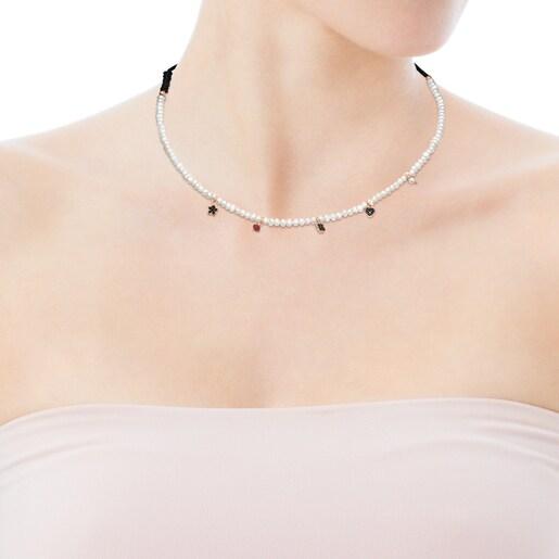 Collar Motif de Perlas y Cordón negro con Plata Vermeil rosa y Gemas