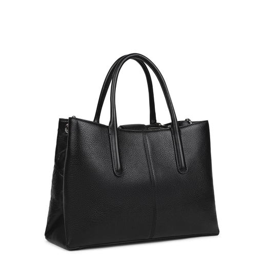 Large black Leather TOUS Icon City bag