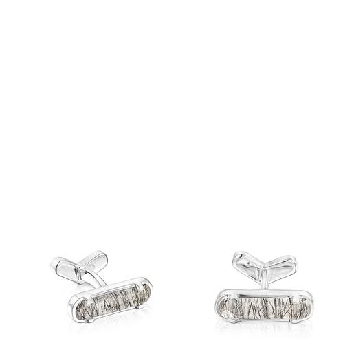Silver TOUS Papa Cufflinks with Tourmalinated quartz