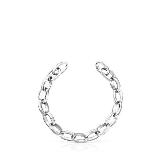Oval Silver Hold Bracelet