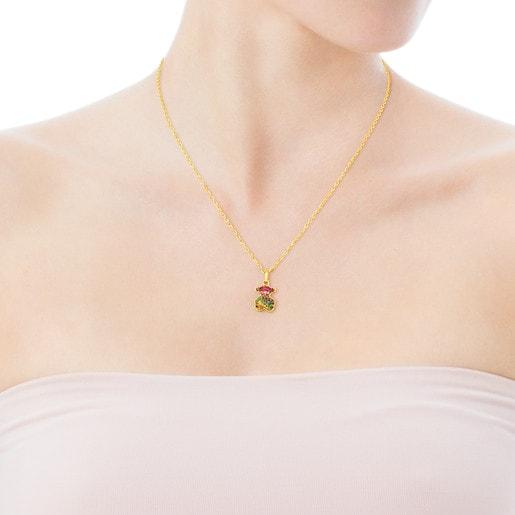 Colgante de oro con zafiros multicolor motivo oso Icon Gems