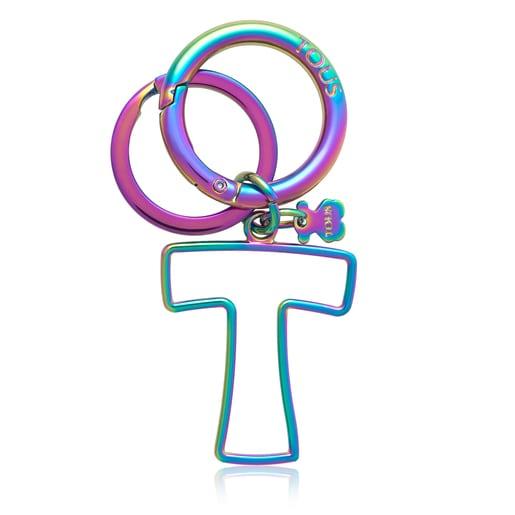 Iridescent Touscedario Letter T Key ring