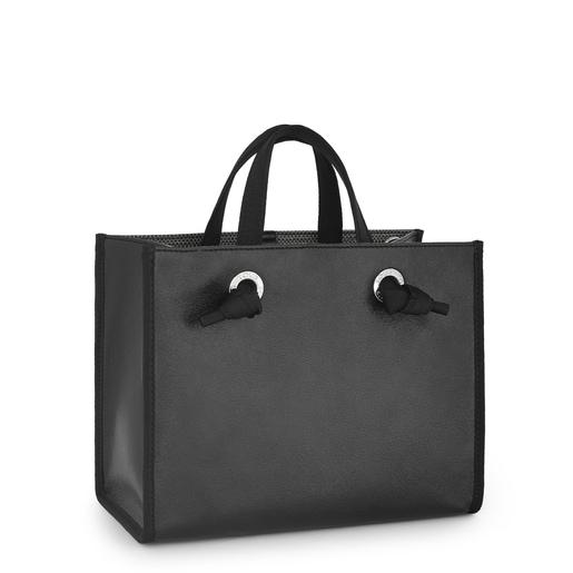 Μεσαίου μεγέθους Μαύρη Μεταλλική Τσάντα για Ψώνια Amaya