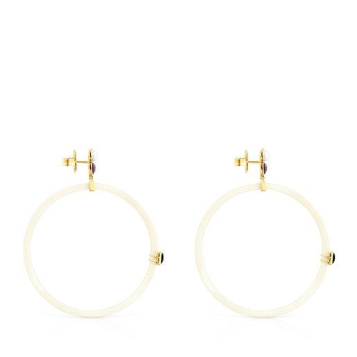 Σκουλαρίκια Glory από Ρητίνη με Χρυσό Vermeil και Πολύτιμους Λίθους