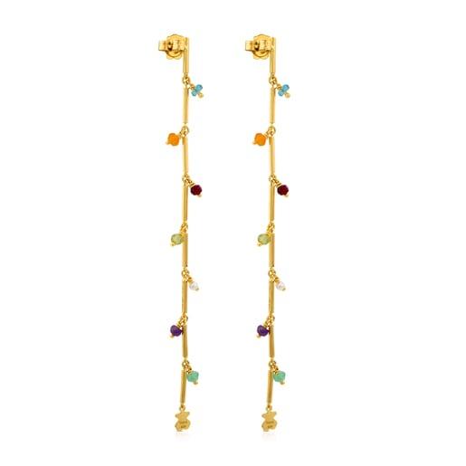 Vermeil Silver Elise Earrings with Gemstones and Pearl