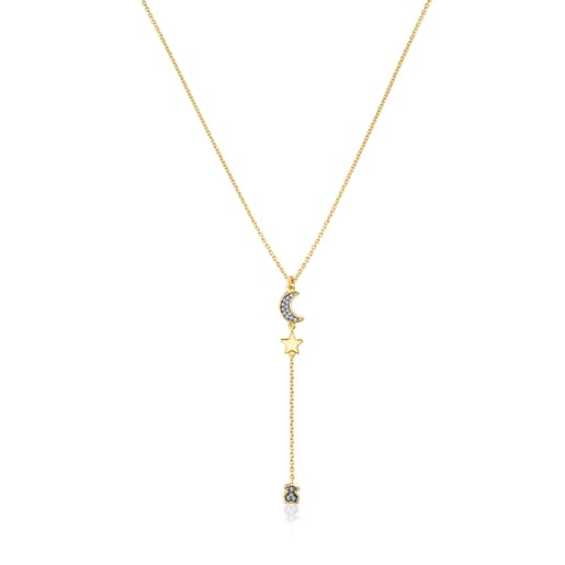 Silver Vermeil Nocturne Necklace with Diamond charms