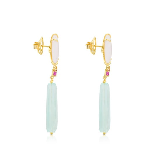 Gold Ethereal Earrings with Chalcedony, Ruby and Opal