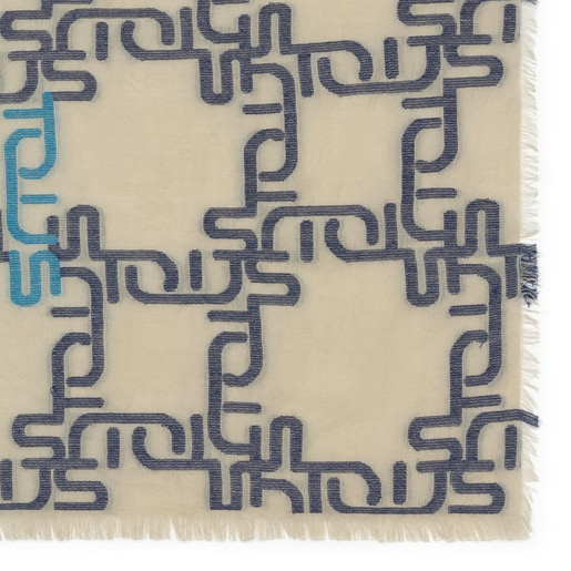 Foulard Logogram Jacquard Azul