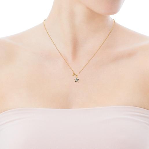 Collar Nocture de plata vermeil y estrella de diamantes