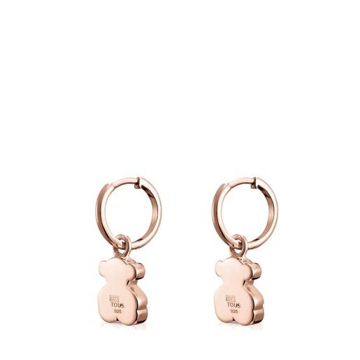 Short Rose Silver Vermeil Sweet Dolls bear Earrings