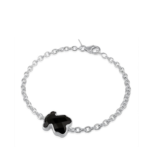 Silver TOUS Color Bracelet with faceted onyx