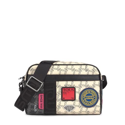 Medium black and beige TOUS Logogram Patch Crossbody bag