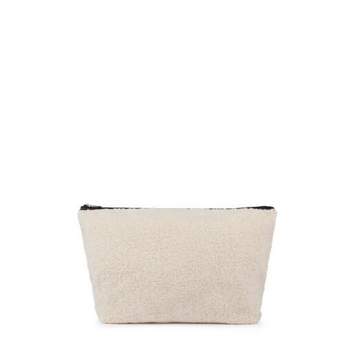 Bolsa pequeña Kaos Shock de Pelo Shaggy en color perla