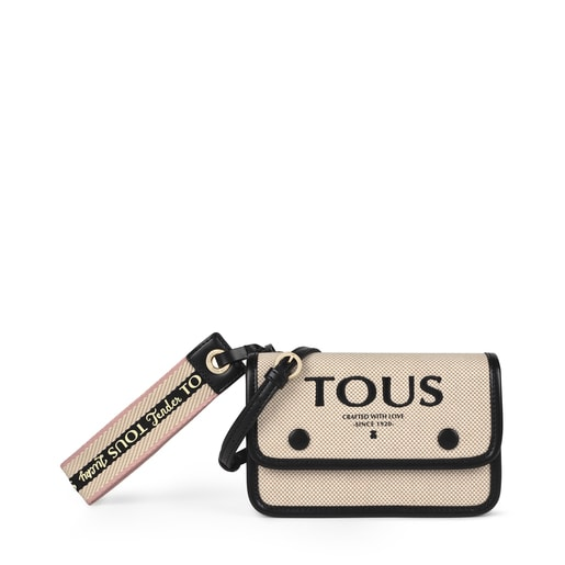 Beige and black Audree T Cotton belt  bag