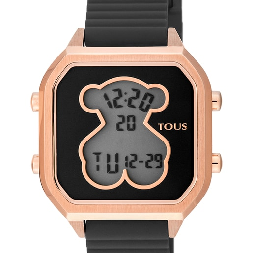 Rose IP Steel D-Bear Teen Watch with black Silicone strap