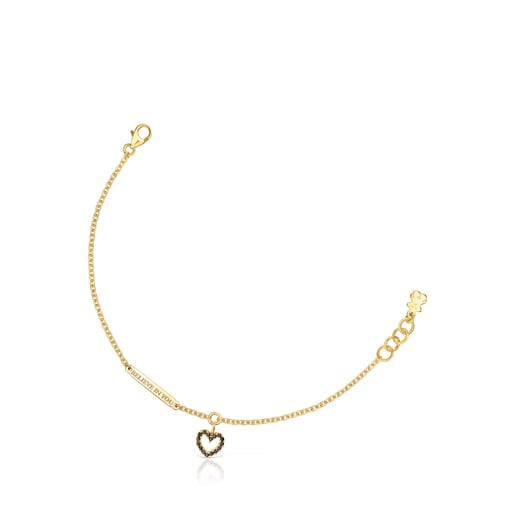 Silver Vermeil Valentine's Day heart Bracelet with Spinels