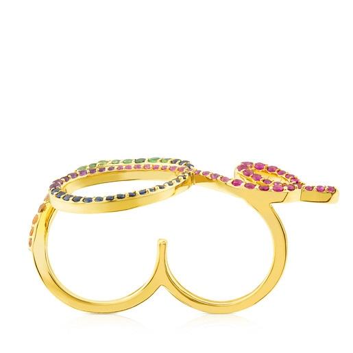 Anillo Lio de oro con gemas