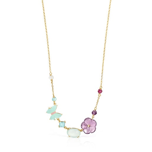 TOUS Vita Necklace in Gold with Diamonds and Gemstones 0.01ct 42cm.