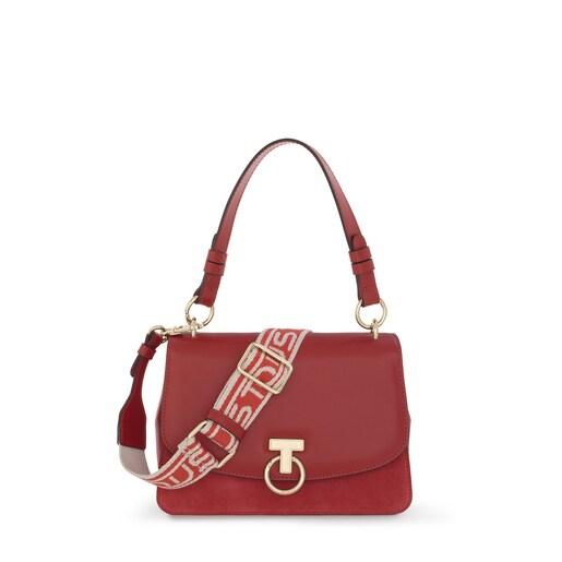 Κόκκινη τσάντα City Zafiro από δέρμα