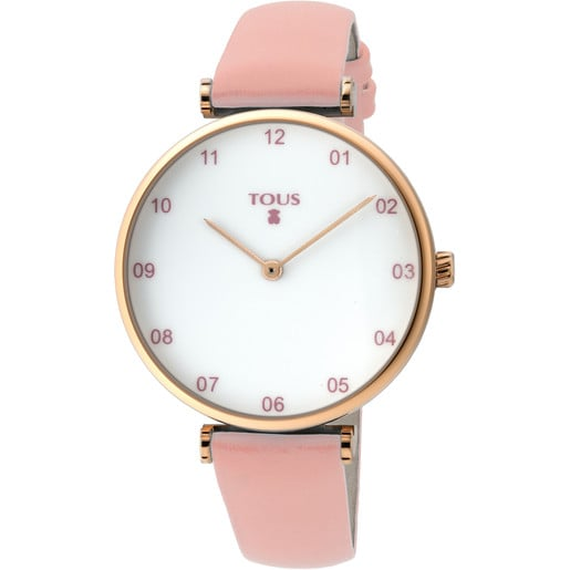 Pink IP Steel Camille Watch with pink Leather strap