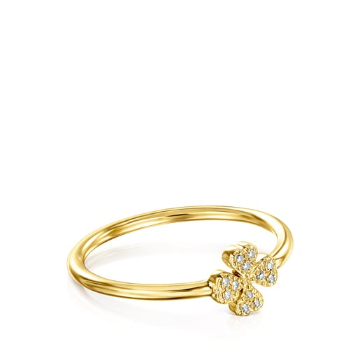 Anillo TOUS Good Vibes de oro y diamantes motivo Trébol
