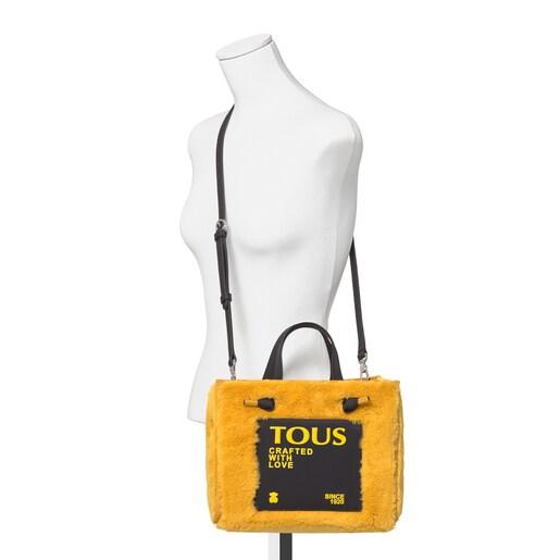 Mittelgroße Shopping-Tasche Amaya Fur in Senfgelb