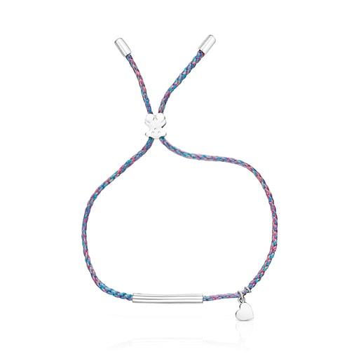 Pulsera TOUS Good Vibes corazón de plata y cordón azul