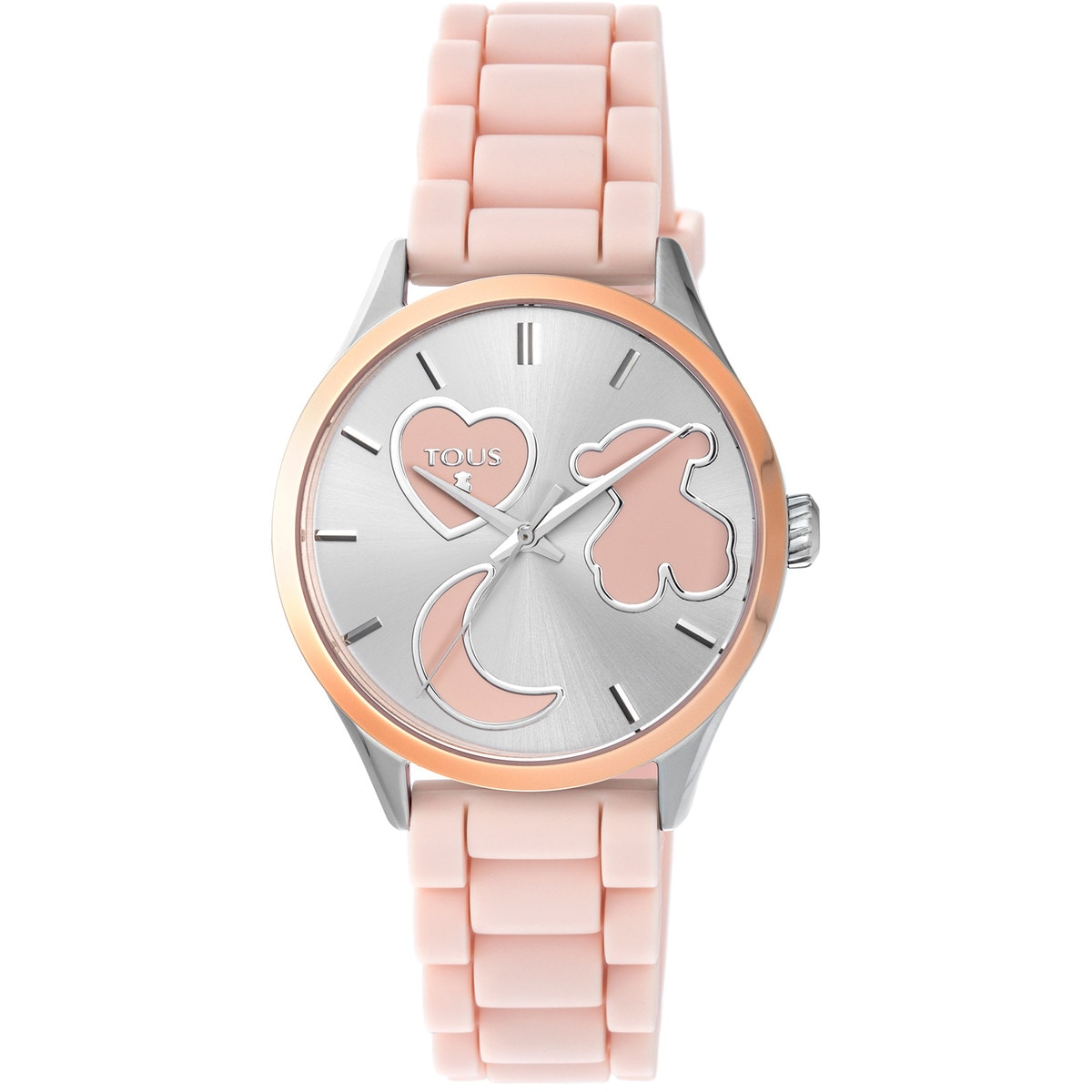 Rose IP steel Sweet Power Watch with pink silicone strap