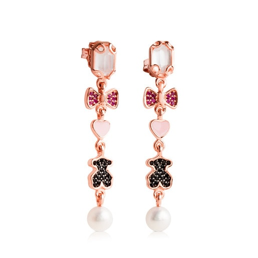 Rose Vermeil Silver TOUS Join Earrings with quartz, ruby and spinels