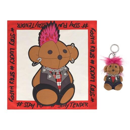 Pack Teddy Amaya Rebel Key ring + multicolored Scarf