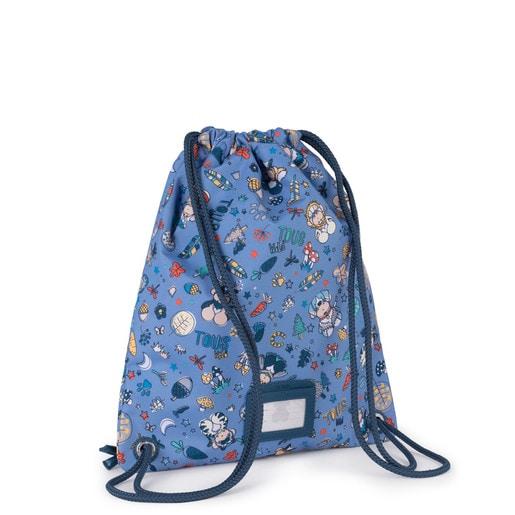 Small flat blue Nylon School Playground Backpack