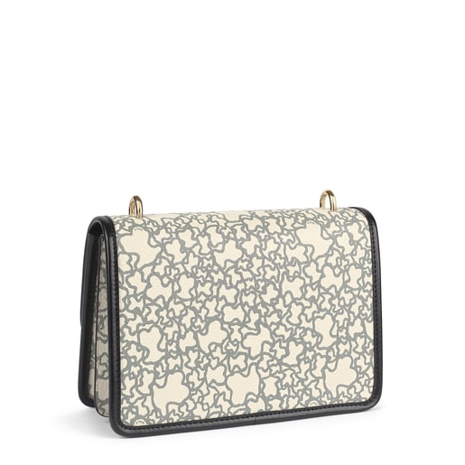 Small beige, black and fuchsia Audree Kaos Mini crossbody bag