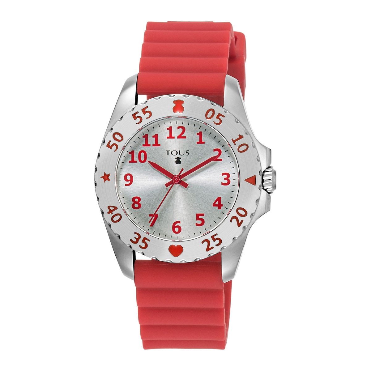 Steel Motif KDT Watch with red Silicone strap