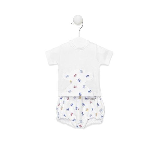 Conjunto de camiseta y pololo Half Bear Blanco