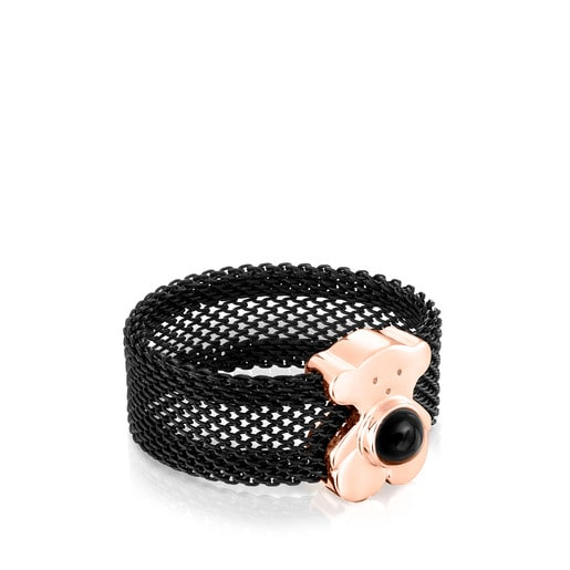 Wide black IP Steel and Rose Silver Vermeil Real Sisy Ring with Onyx