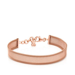 Steel and Rose Vermeil Silver Icon Mesh Bracelet