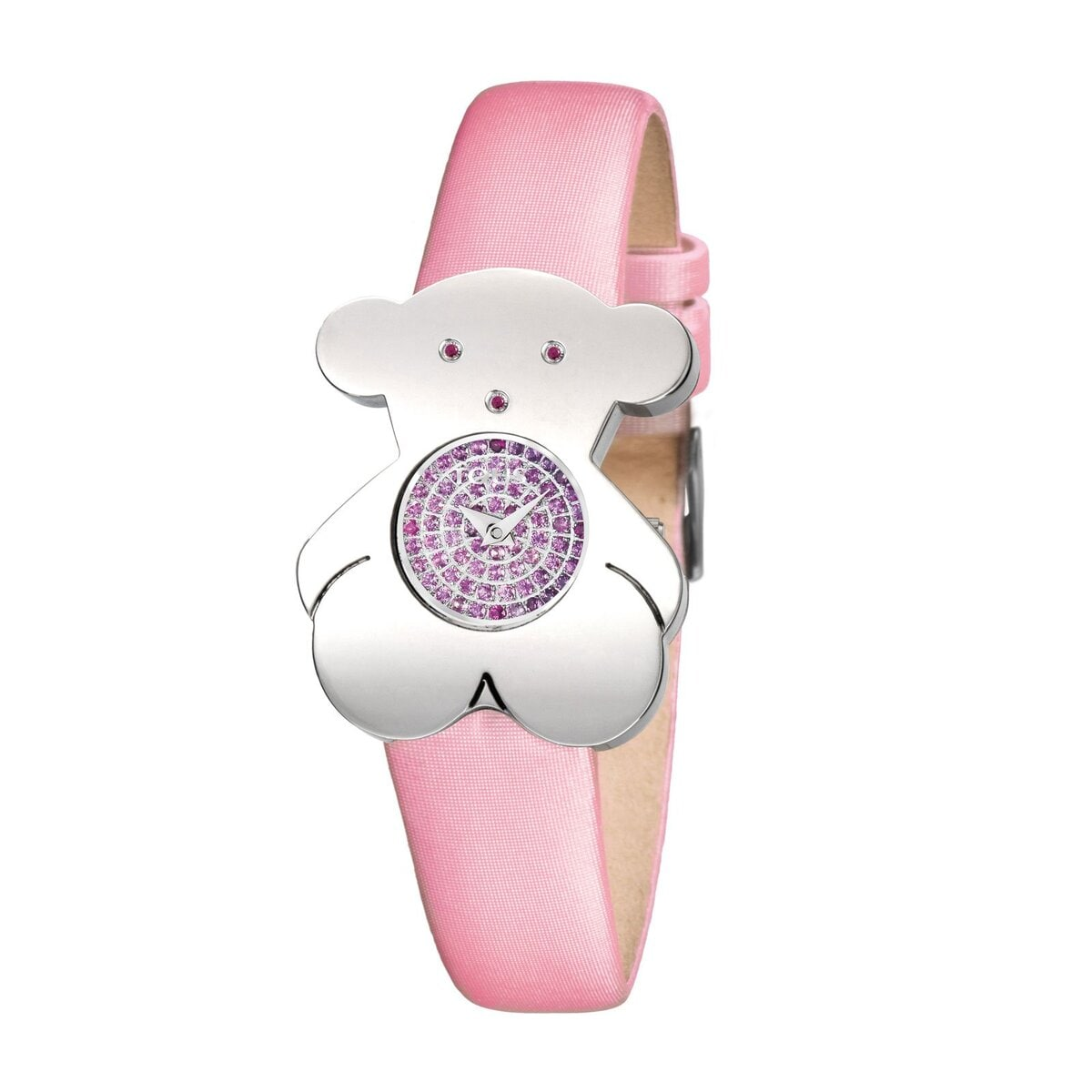Steel Tousy Watch with pink sapphires and pink Satin strap