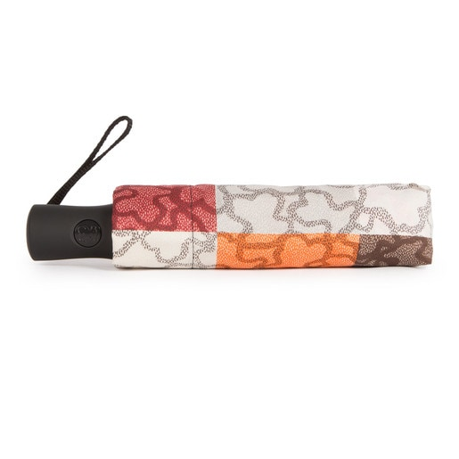 TOUS Kaos Cuadrados folding Umbrella in orange and brown