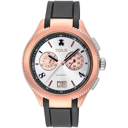 Ρολόι Δίχρωμο ST από Ατσάλι/Επιμετάλλωση σε Ροζ χρώμα με μαύρο δερμάτινο λουράκι