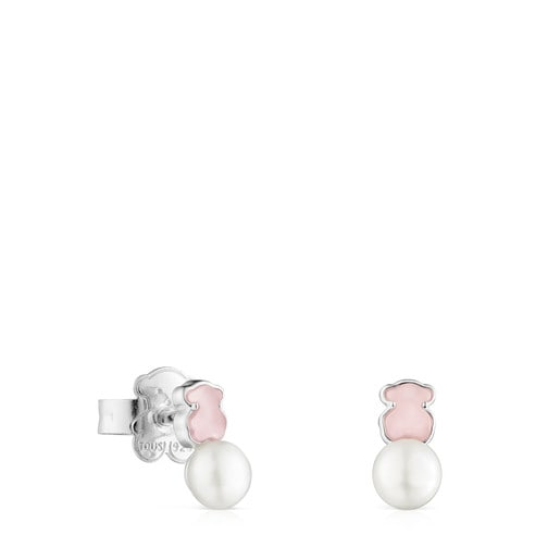 TOUS Mini Color Earrings in Silver with rose Quartzite and Pearl