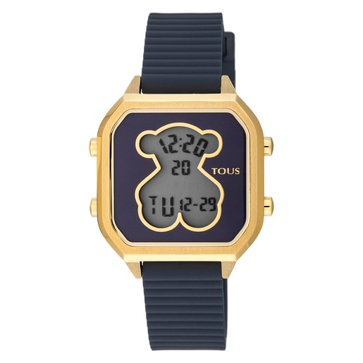 Gold IP Steel D-Bear Teen Watch with blue Silicone strap