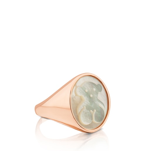 Rose Vermeil Silver Camee Ring with Mother-of-Pearl
